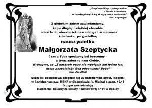 Módlmy się za naszą koleżankę Małgorzatę Szeptycką