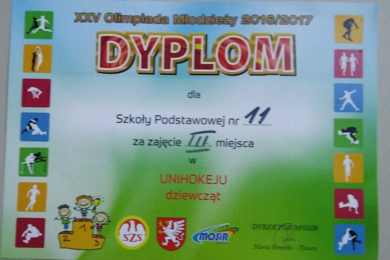 Brązowy medal dziewcząt w unihokeja