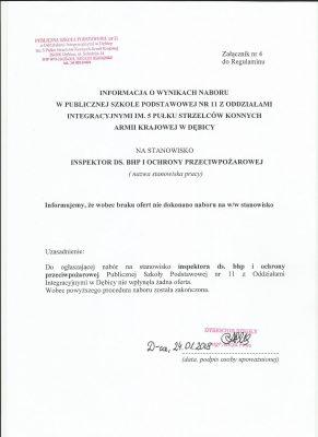 Informacja o wyniku wyboru na stanowisko inspektora ds. BHP