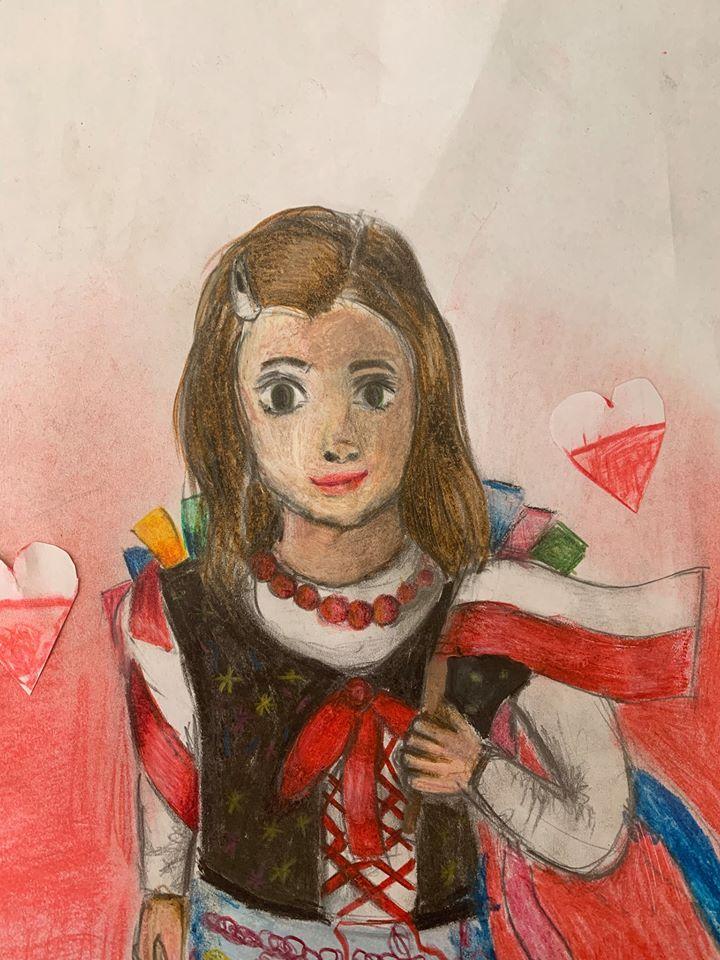 """""""Biało-czerwona"""" – mój rysunek z flagą Polski"""